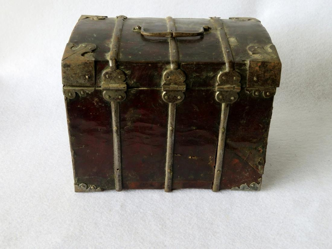 An early leather covered document box with hand forged - 5