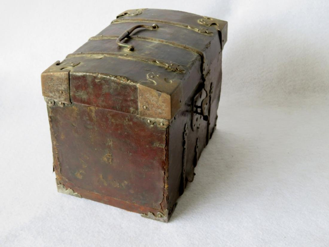 An early leather covered document box with hand forged - 6