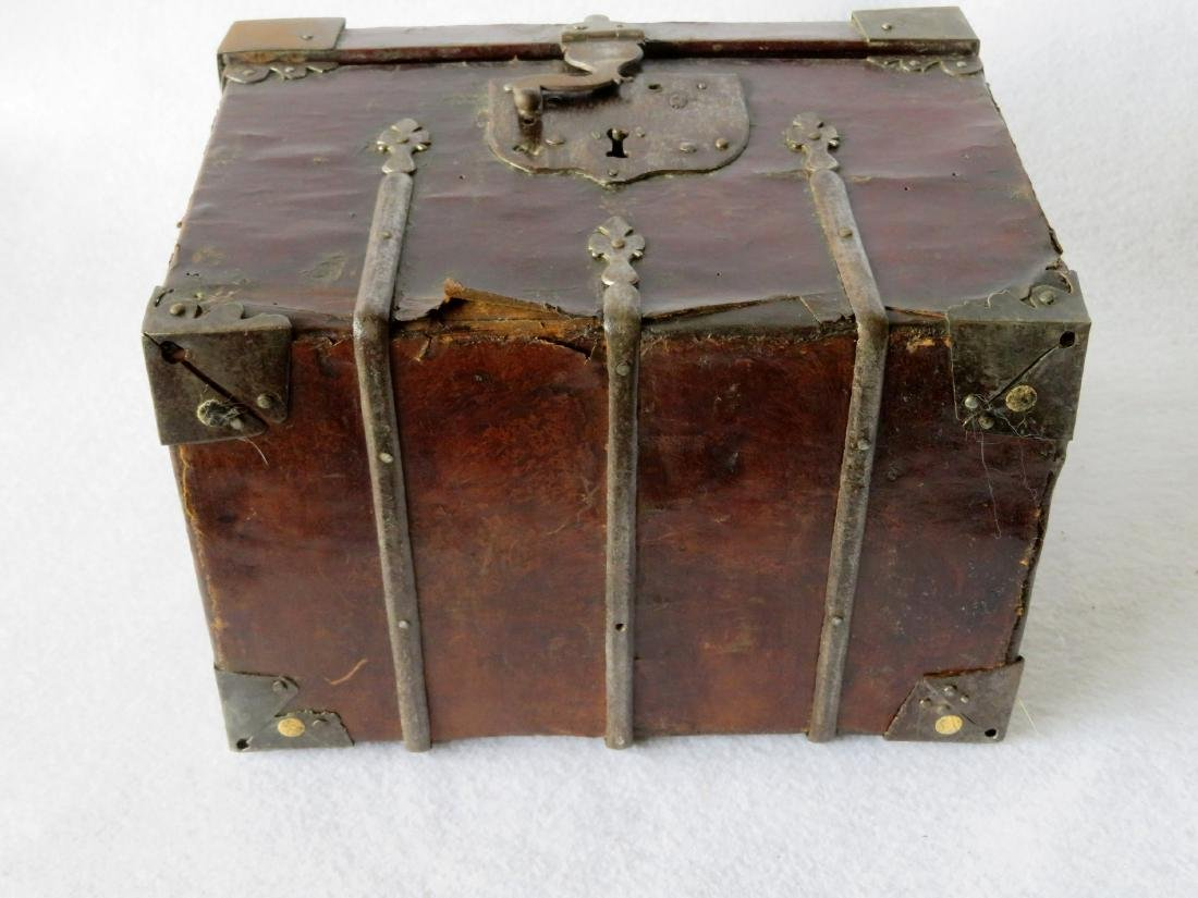 An early leather covered document box with hand forged - 7