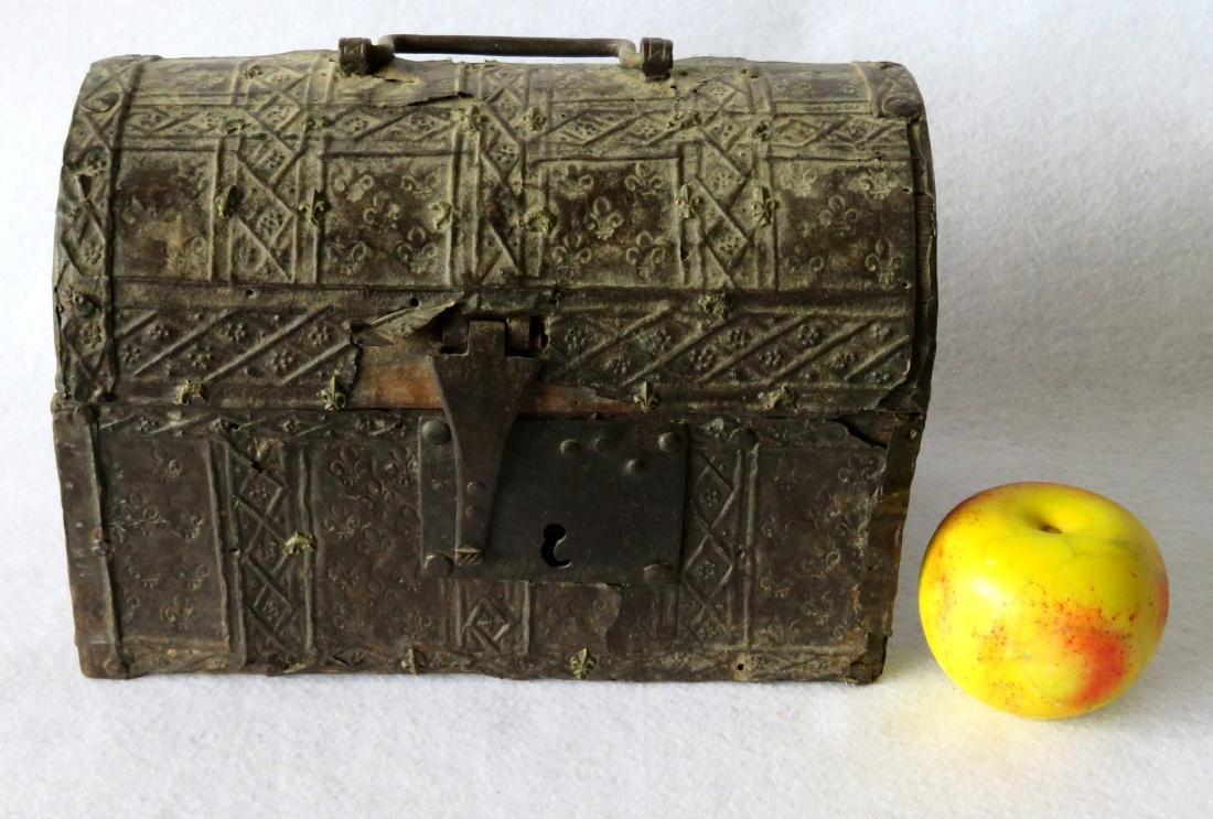 An ancient dome top French document box with hand