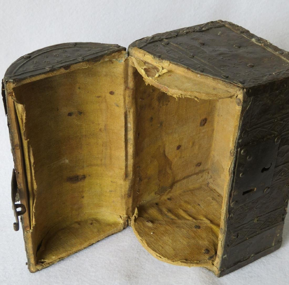 An ancient dome top French document box with hand - 3