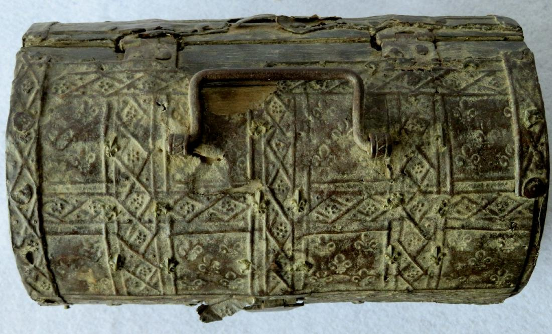 An ancient dome top French document box with hand - 4