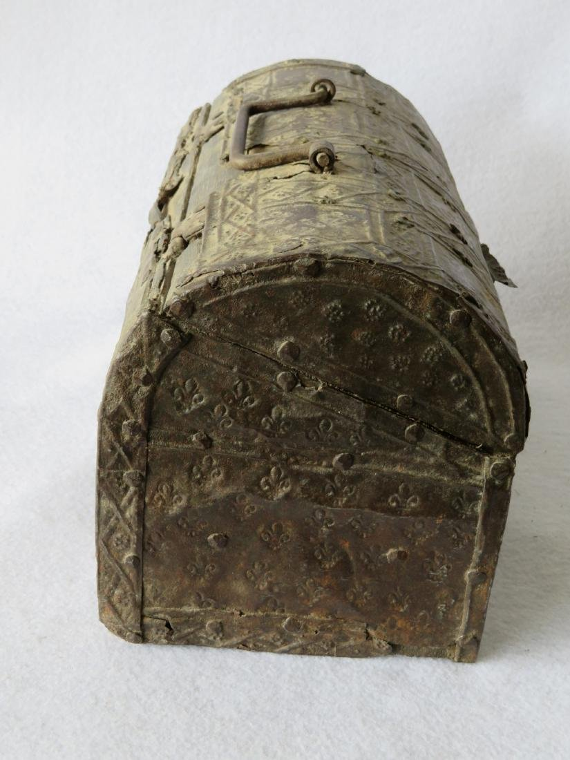 An ancient dome top French document box with hand - 7