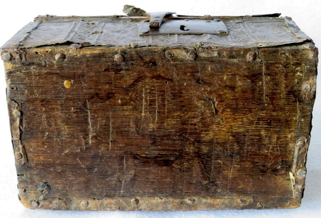 An ancient dome top French document box with hand - 8