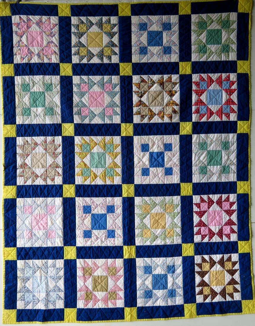 Patchwork quilt in a star pattern, mid to late 20th