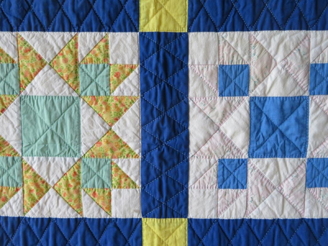 Patchwork quilt in a star pattern, mid to late 20th - 2