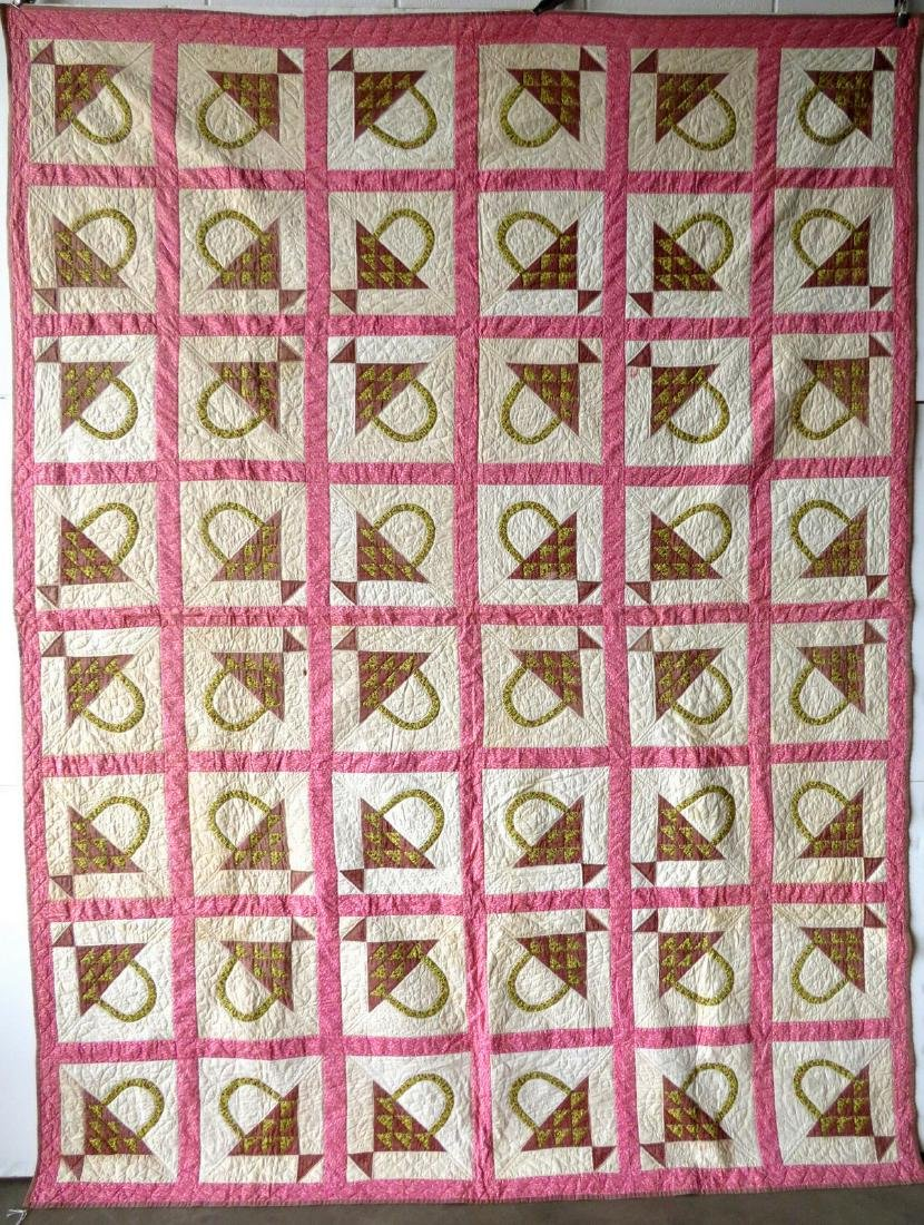 "Patchwork quilt in the ""Basket"" pattern, late 19th to"