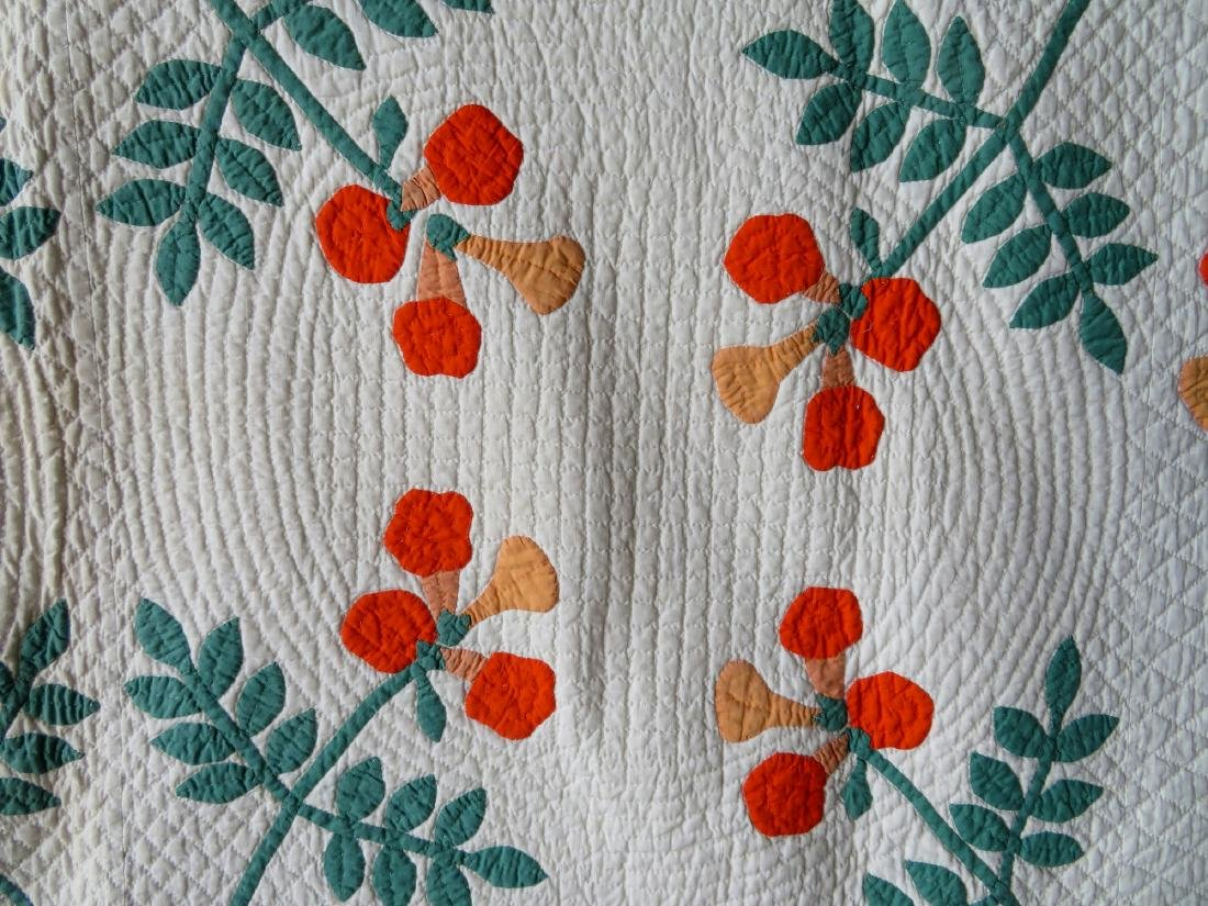 Colorful floral applique quilt in green, yellow and - 3