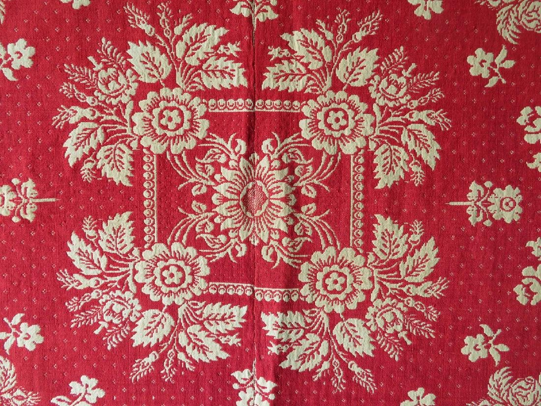 A Dutchess County NY red and white jacquard coverlet. - 2