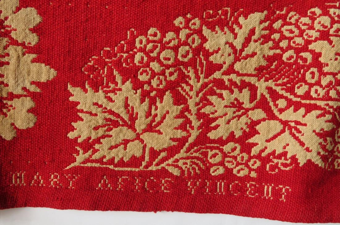 A Dutchess County NY red and white jacquard coverlet. - 3