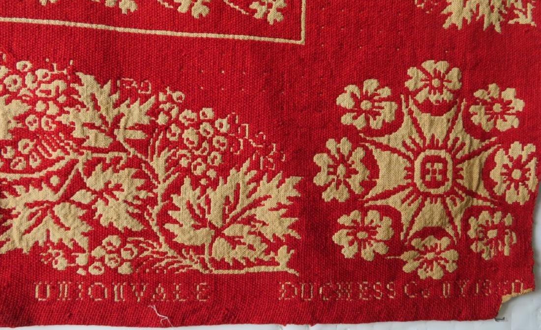 A Dutchess County NY red and white jacquard coverlet. - 4