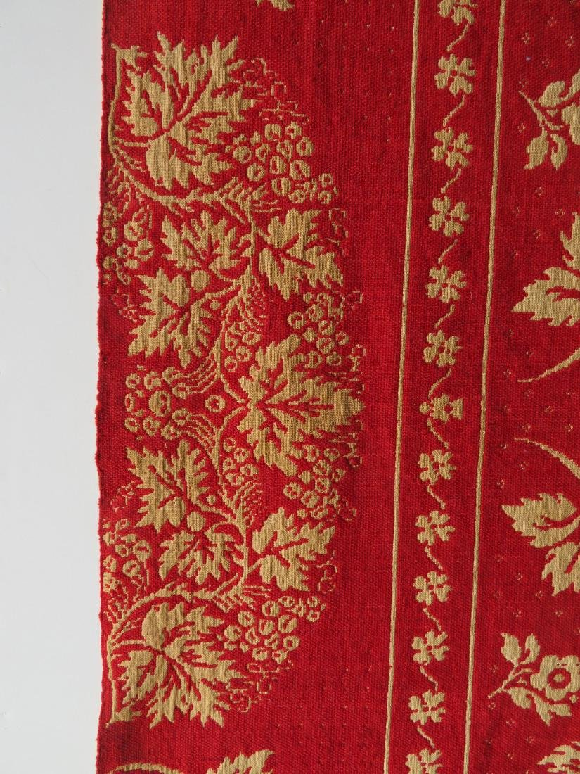 A Dutchess County NY red and white jacquard coverlet. - 5