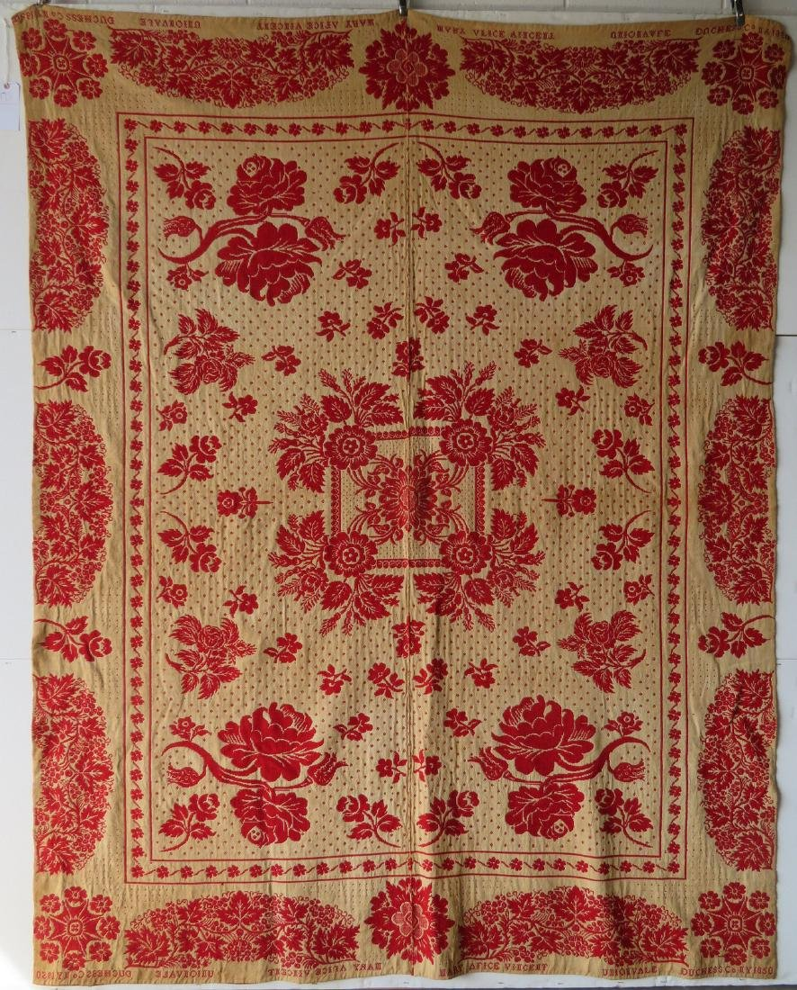 A Dutchess County NY red and white jacquard coverlet. - 6