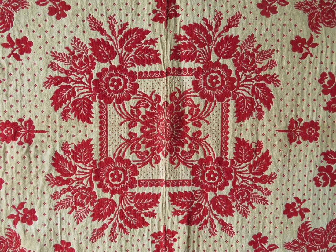 A Dutchess County NY red and white jacquard coverlet. - 7