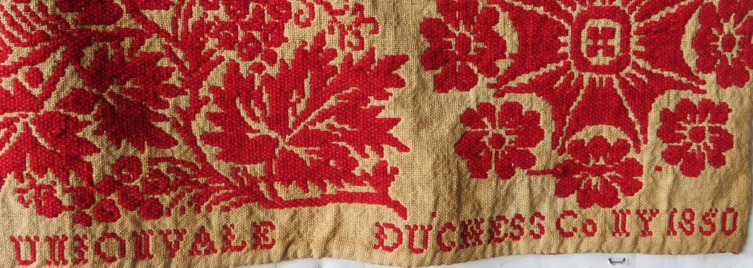 A Dutchess County NY red and white jacquard coverlet. - 8