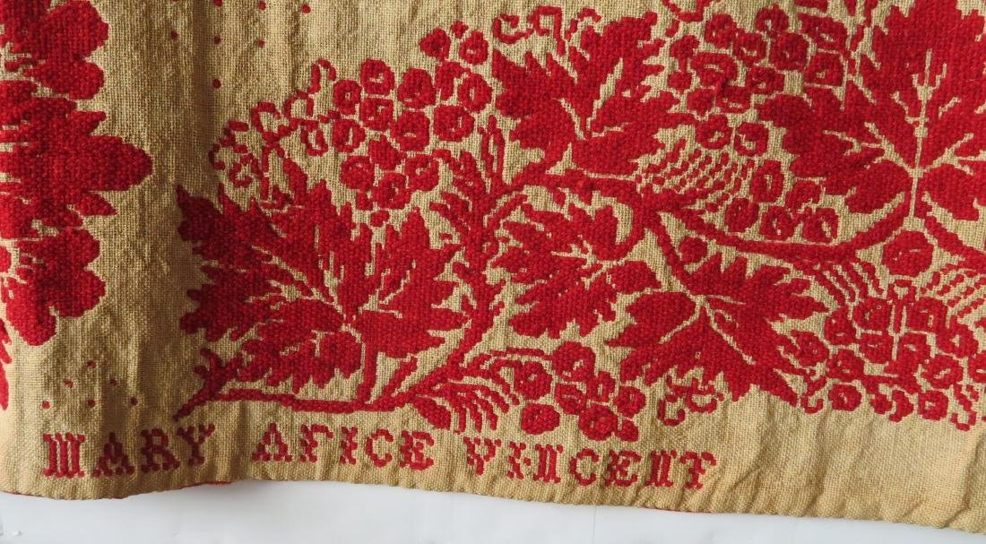 A Dutchess County NY red and white jacquard coverlet. - 9