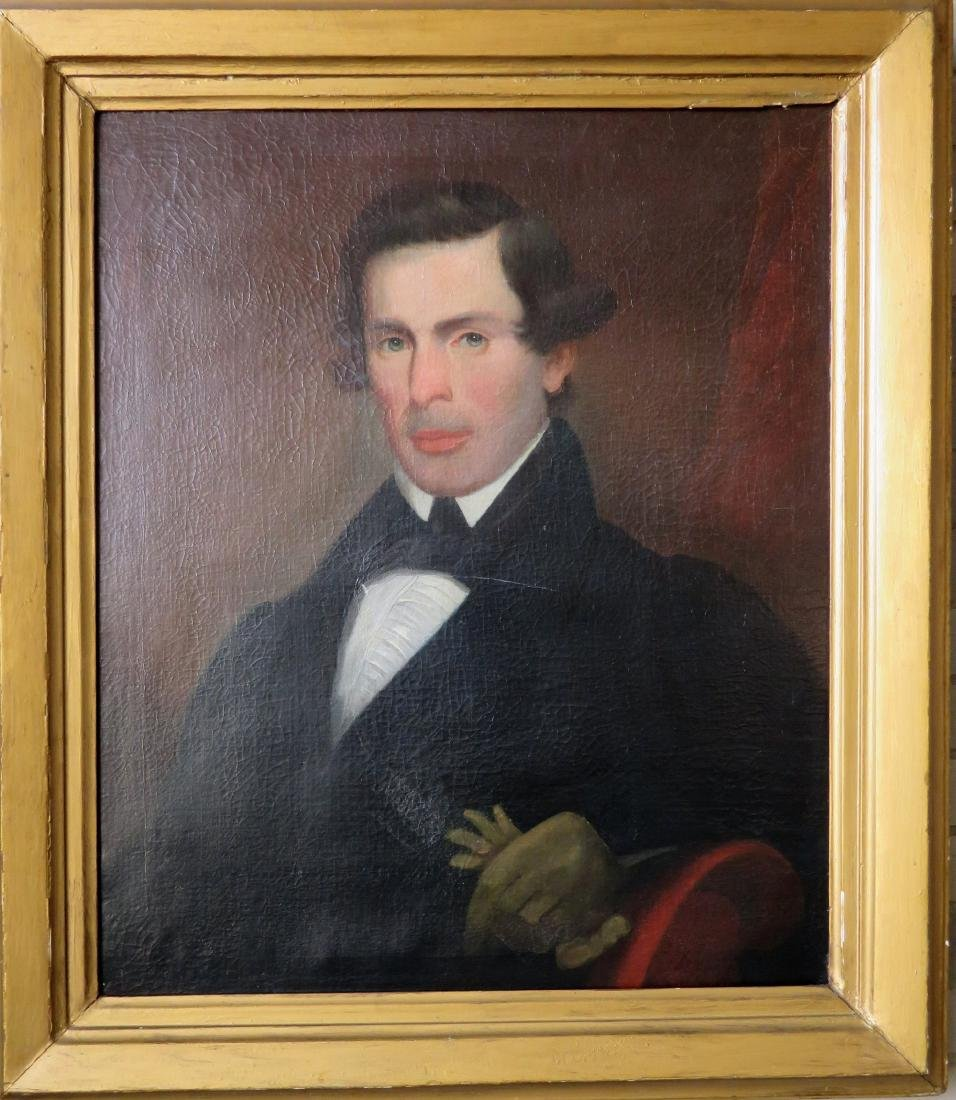 American O/C Early portrait of a gentleman - signed on