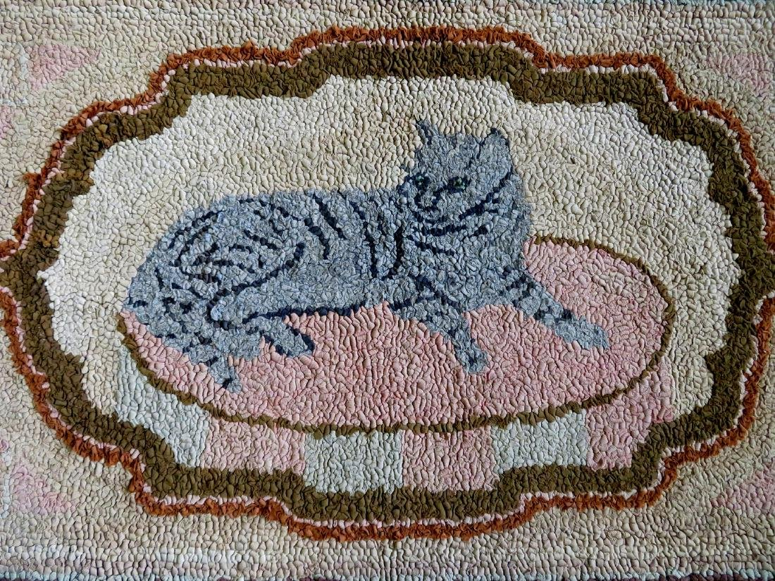 Hooked rug of a gray cat resting on rug, brown border - - 2