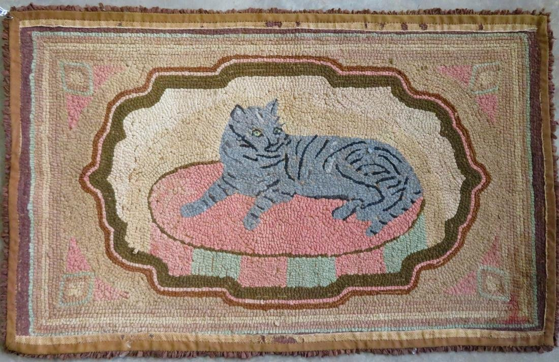 Hooked rug of a gray cat resting on rug, brown border - - 4