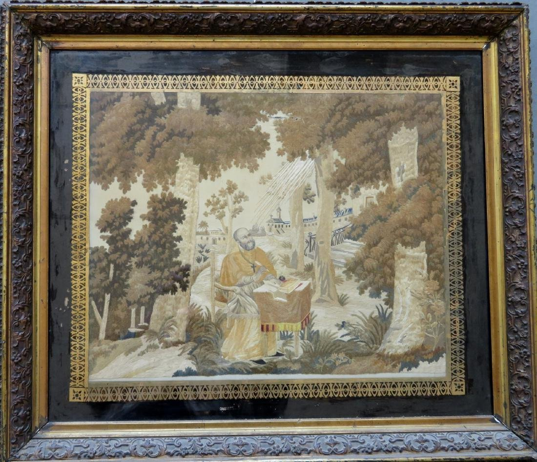 Large framed silkwork picture of St. Jerome writing at