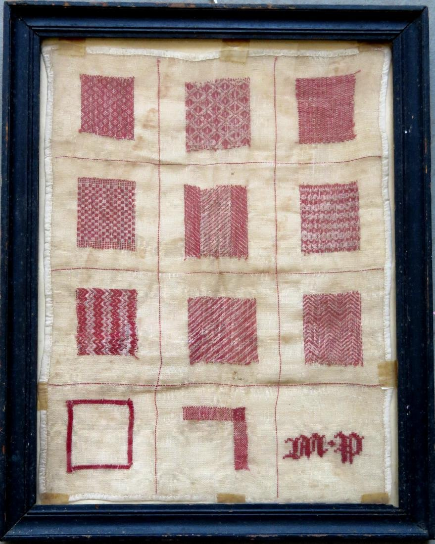 Darning red and white sampler, early 19th century,