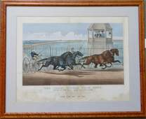 Original CURRIER  IVES large folio harness racing