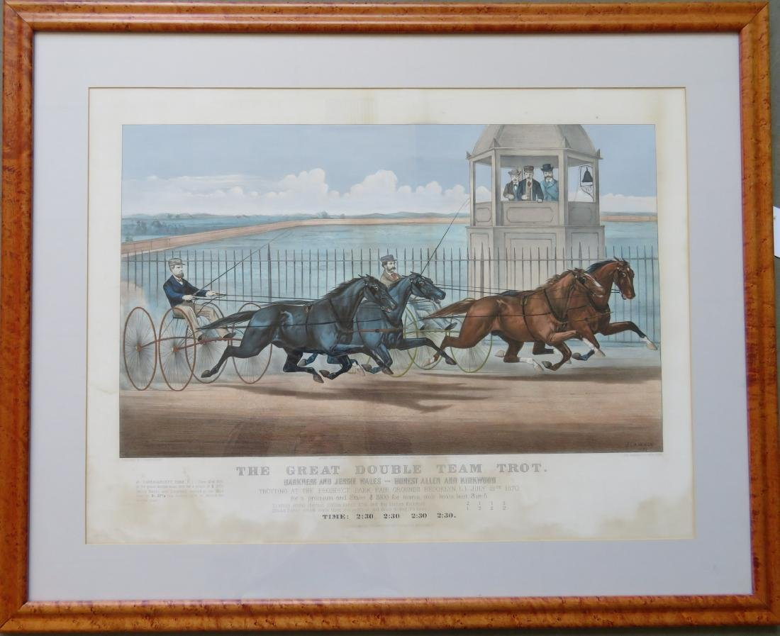 Original CURRIER & IVES large folio harness racing