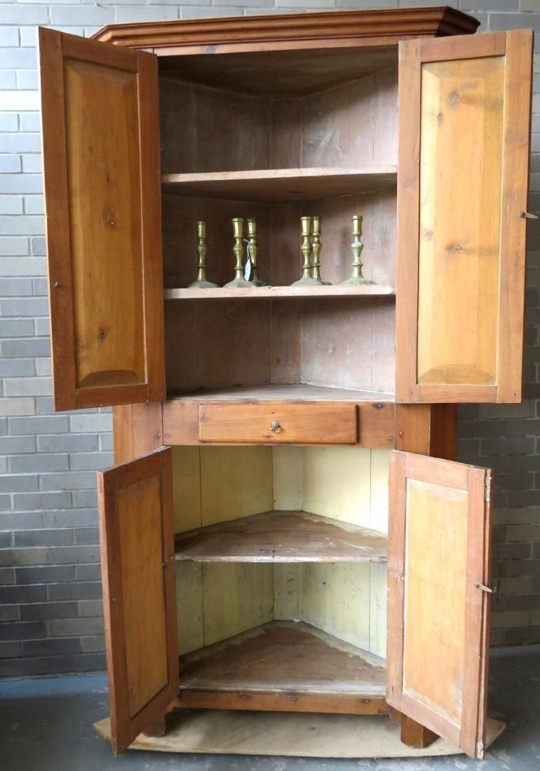 Primitive walnut corner cupboard having 2 doors over 1 - 5