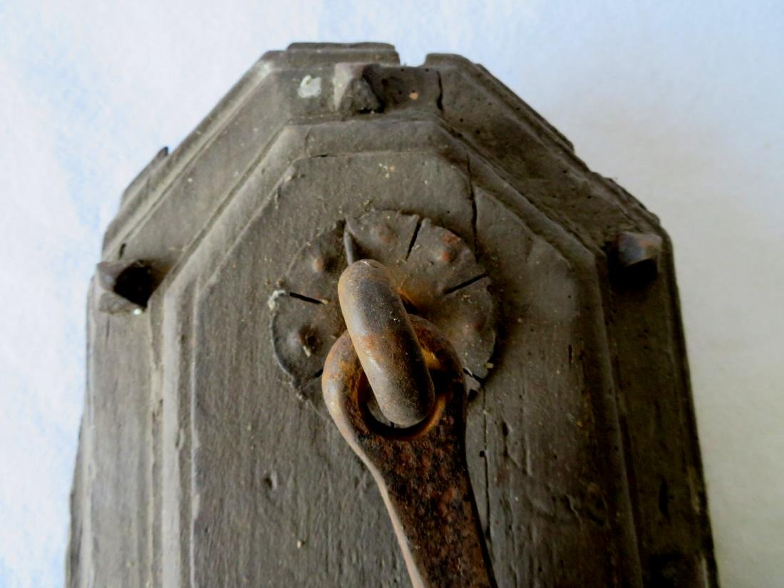 Primitive iron door knocker still mounted to part of an - 2