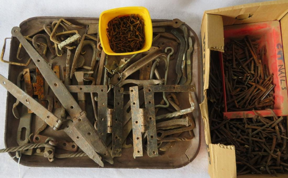 Grouping of mostly hand forged iron hardware including