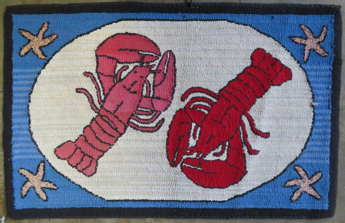 Hooked rug depicting 2 lobsters and also having star