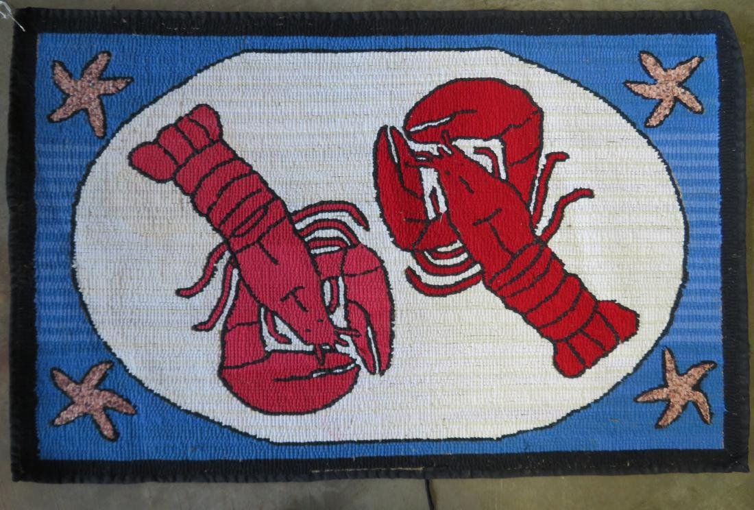 Hooked rug depicting 2 lobsters and also having star - 3