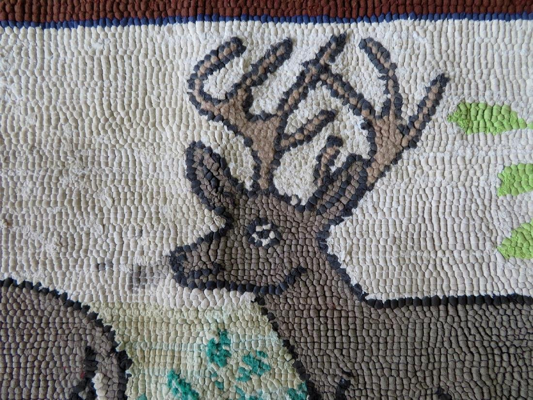 Hooked rug of 2 standing deer including a stag and doe, - 2