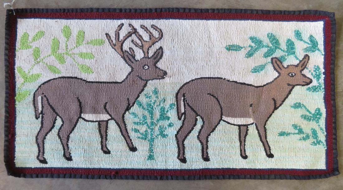 Hooked rug of 2 standing deer including a stag and doe, - 3