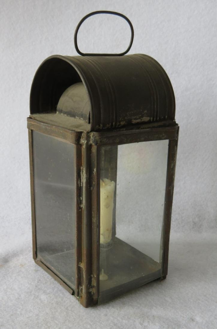 Tin candle lantern with 3 glass sides, dome top, and