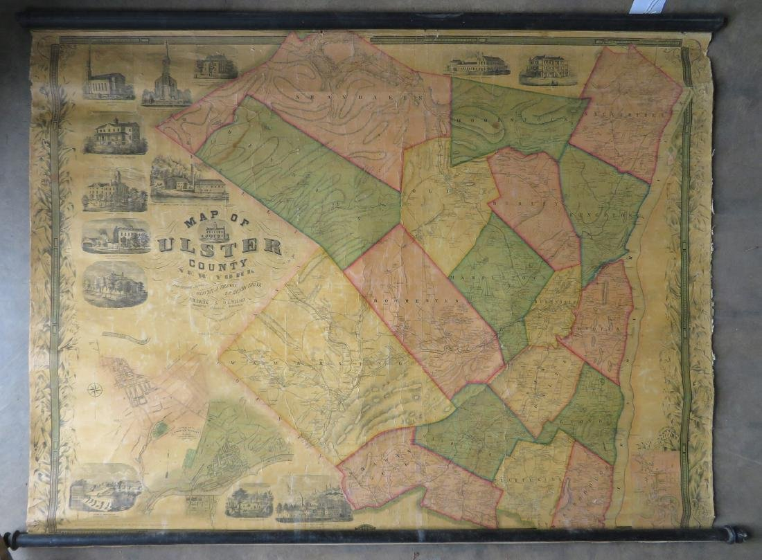 "Rollup wall map entitled ""Map of Ulster Country New"