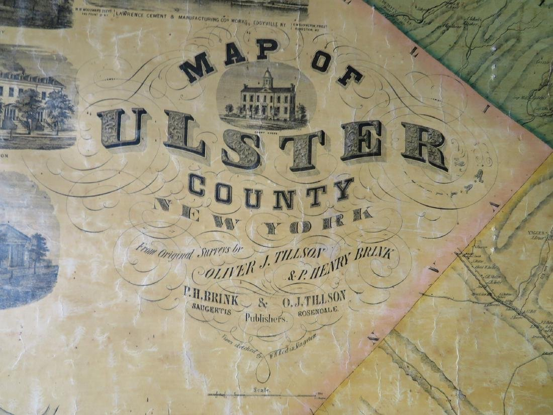"Rollup wall map entitled ""Map of Ulster Country New - 2"