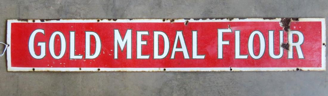 An original porcelain enameled metal advertising sign