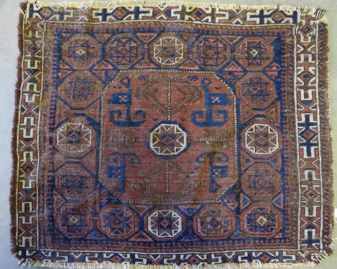 Small Baluch bag face rug, some use wear, but overall