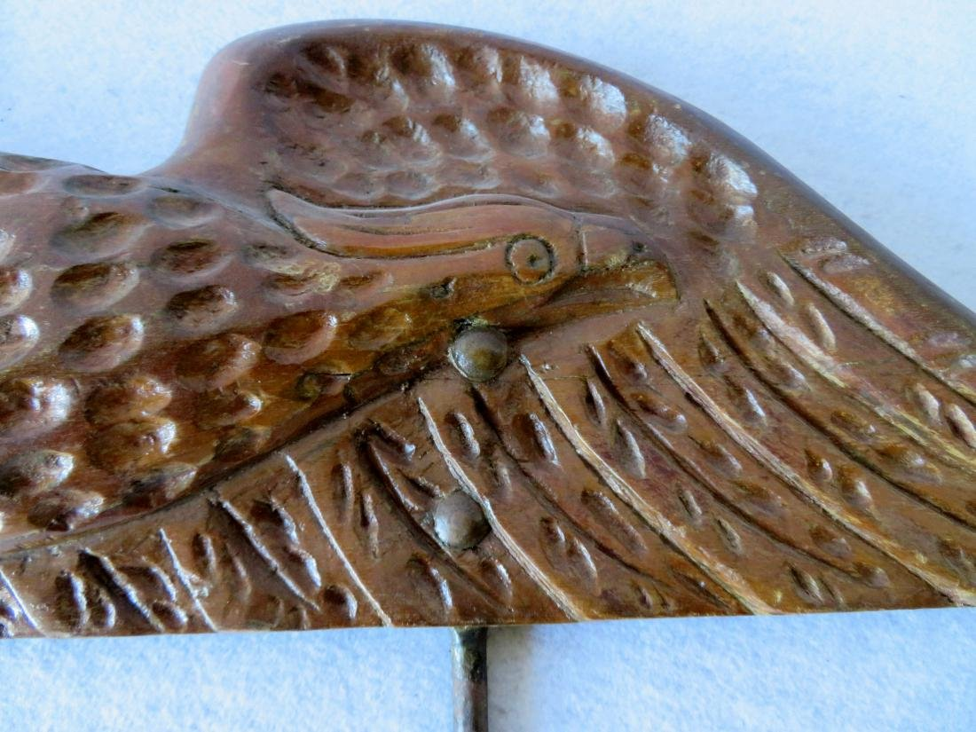 Hand carved wooden spread wing eagle wall plaque in an - 2