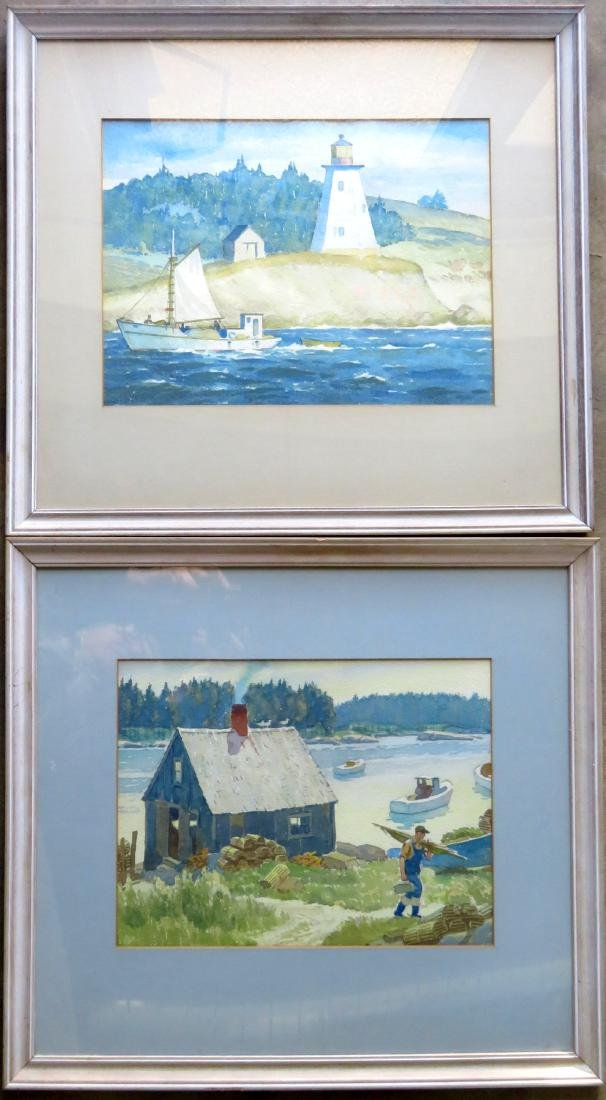 Good pair of W/C's depicting Maine lighthouse & boats