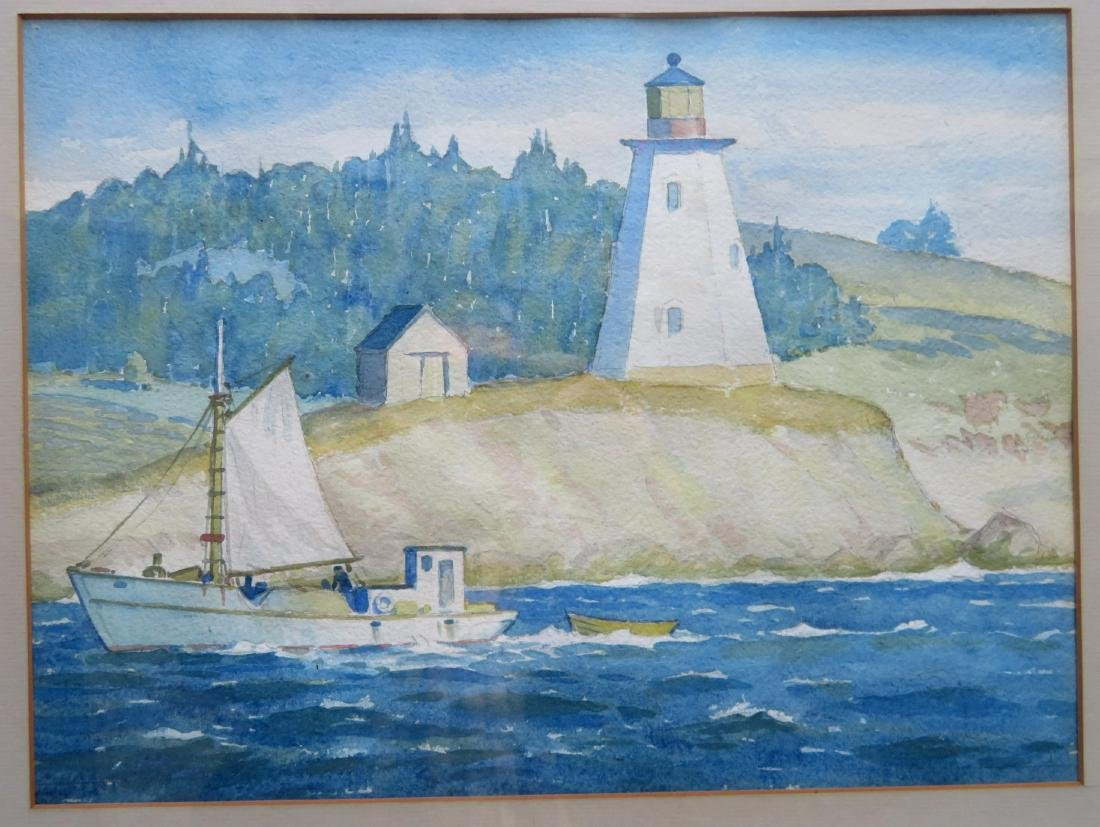 Good pair of W/C's depicting Maine lighthouse & boats - 2