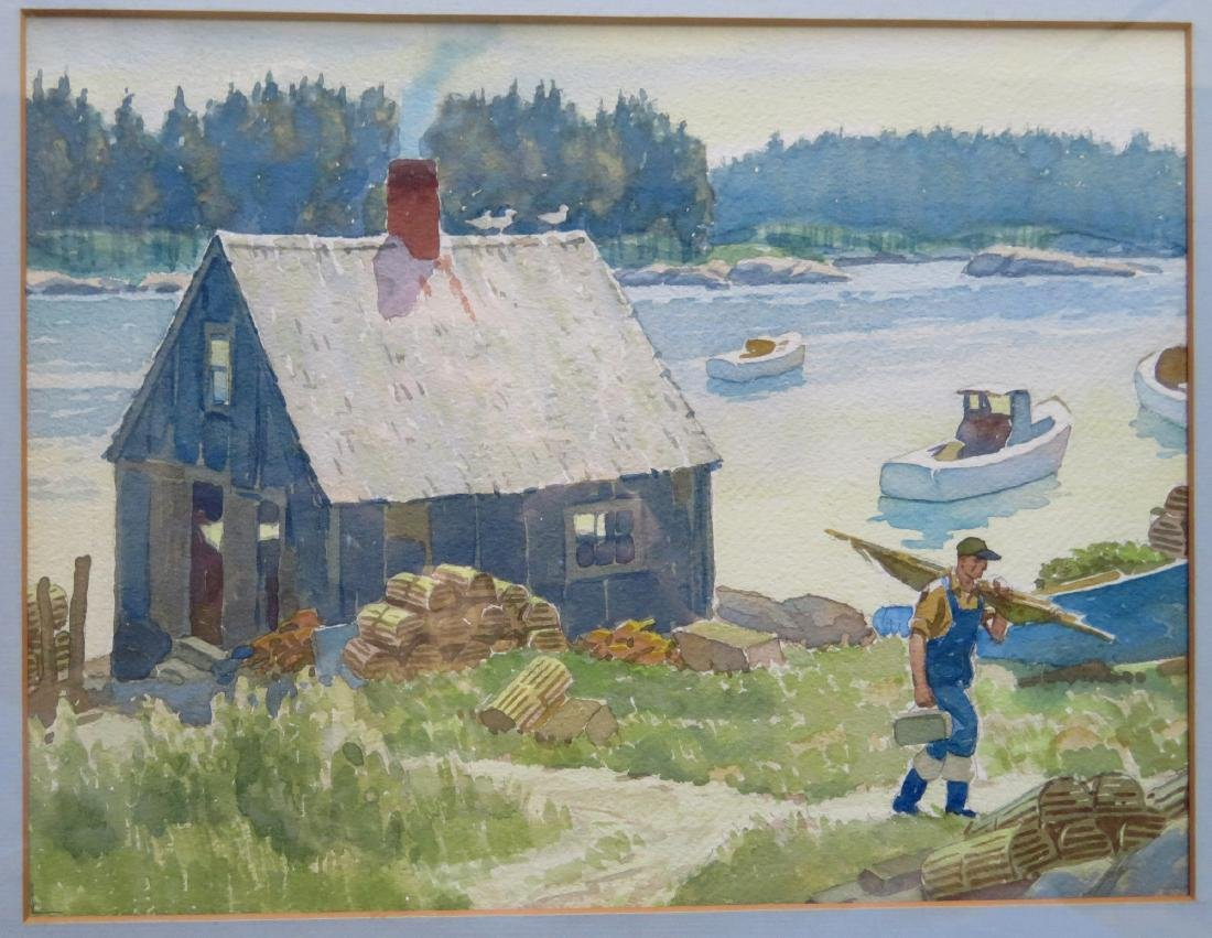 Good pair of W/C's depicting Maine lighthouse & boats - 3