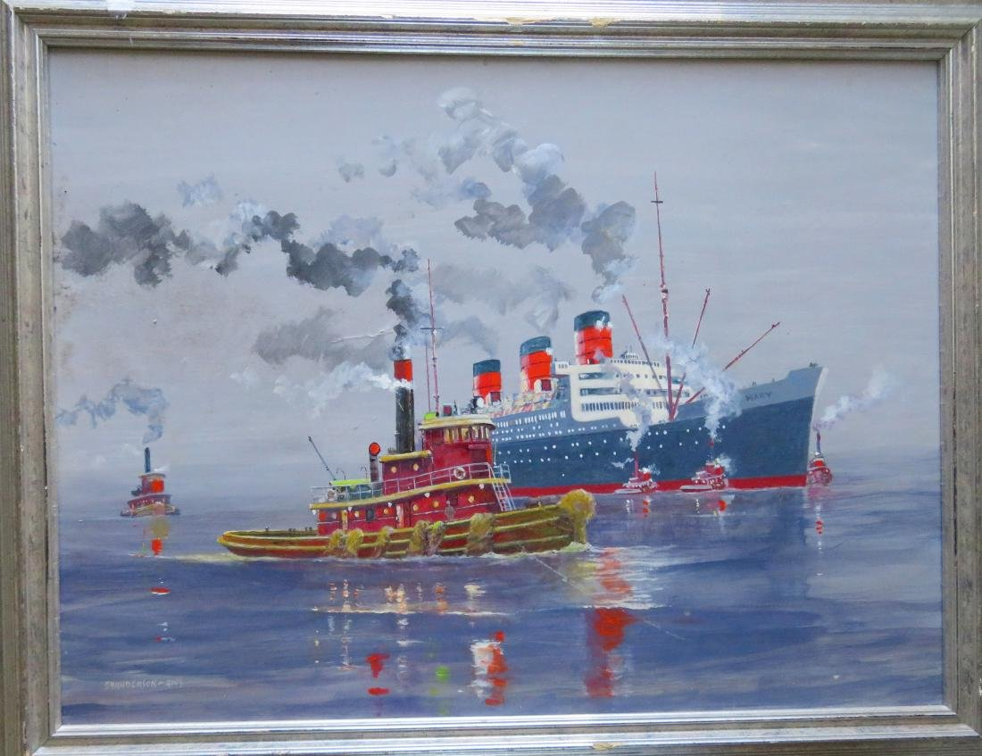 O/B Steamship Queen Mary with tugboats, probably at NY