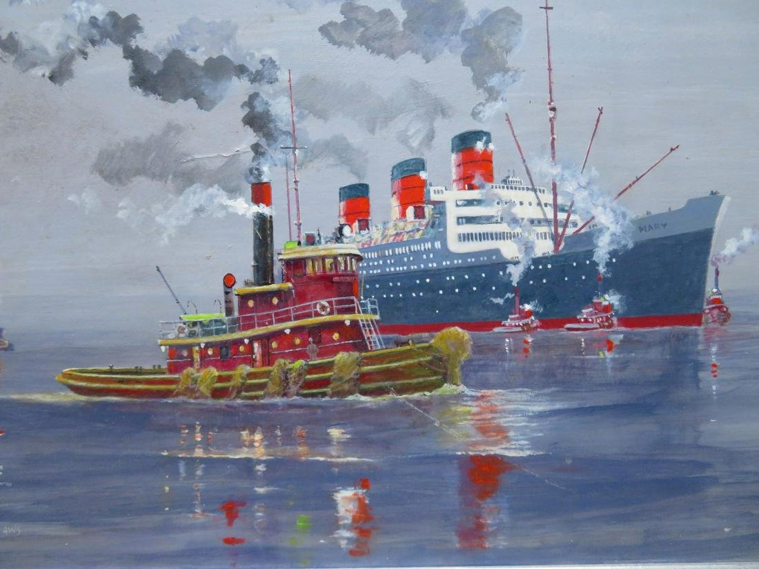 O/B Steamship Queen Mary with tugboats, probably at NY - 2
