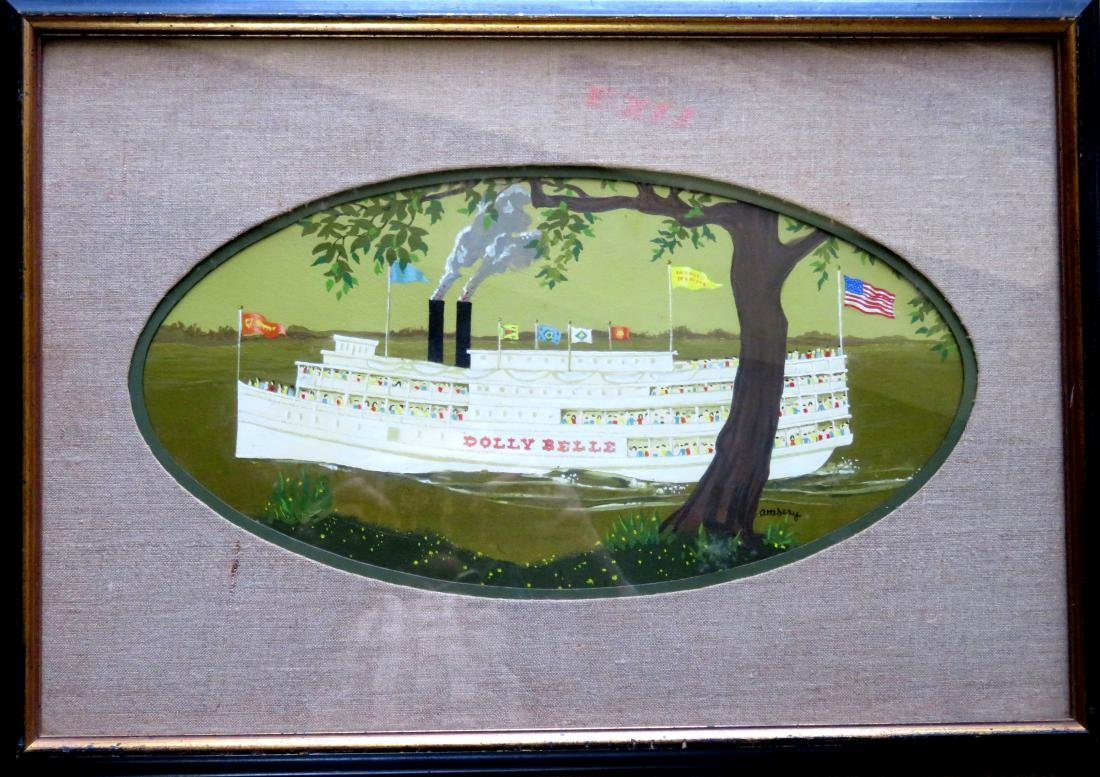 """O/B Paddle wheeler """"Dolly Belle"""" signed Attebery. 20th"""