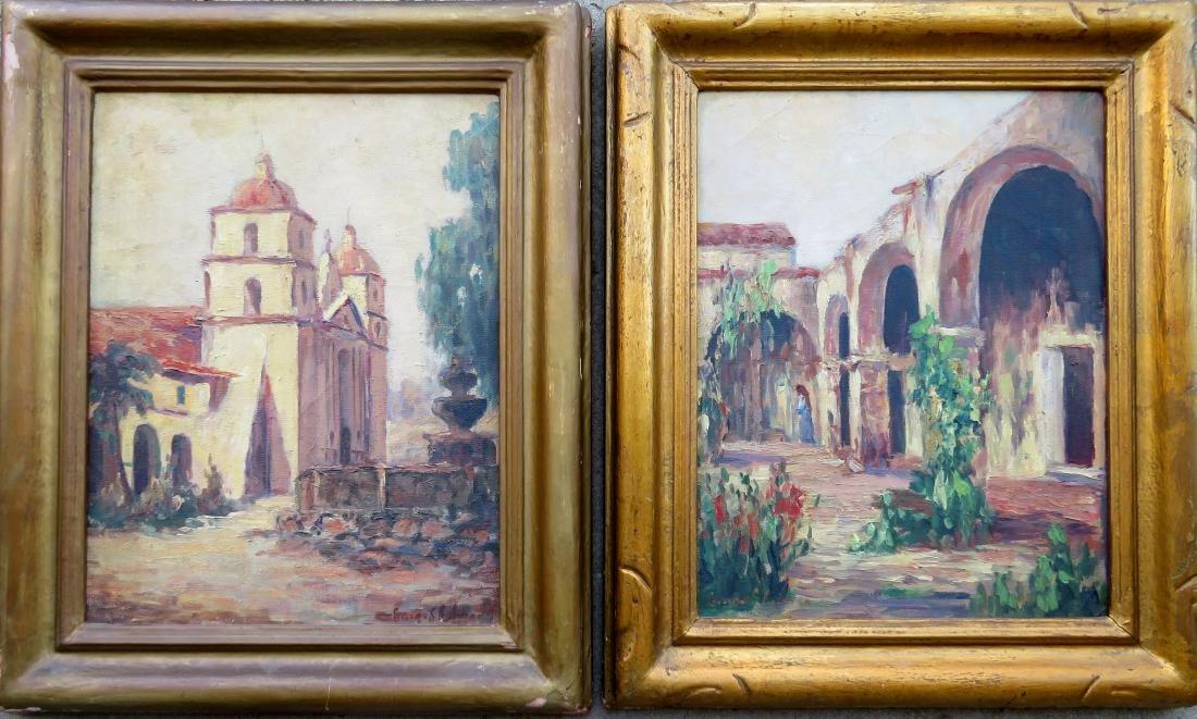 Two O/C California mission style impressionist