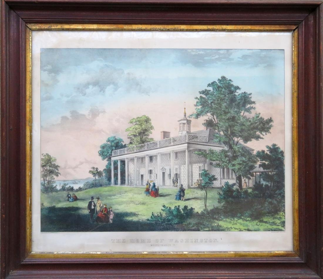 Currier and Ives hand colored medium folio lithograph,