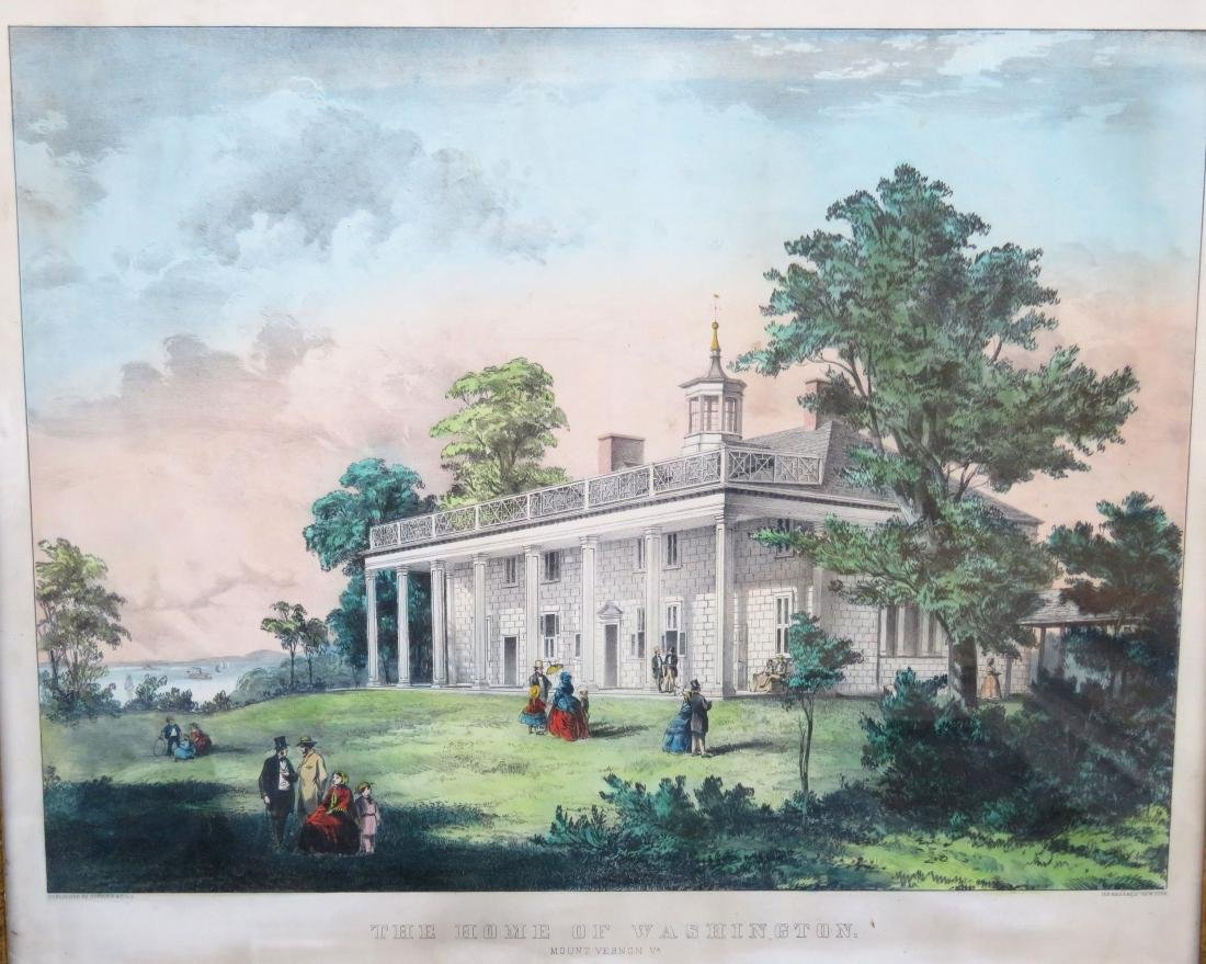 Currier and Ives hand colored medium folio lithograph, - 2