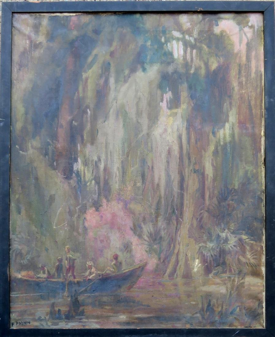 Impressionist O/C Everglade scene with men in rowboat -